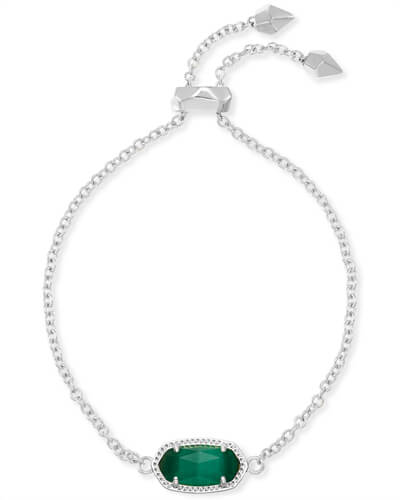 Elaina Silver Adjustable Chain Bracelet in Emerald Cats Eye