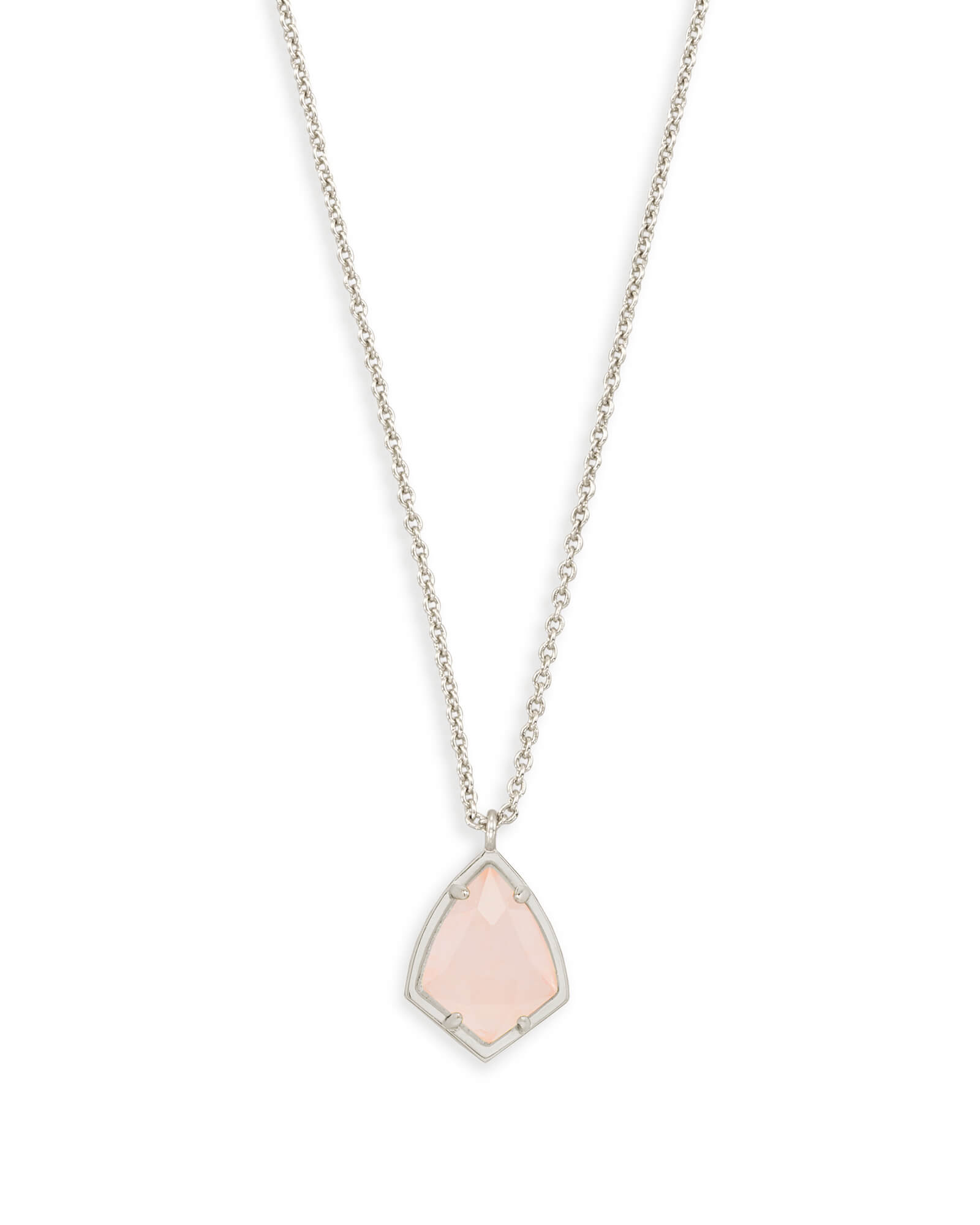 Cory Silver Pendant Necklace in Rose Quartz