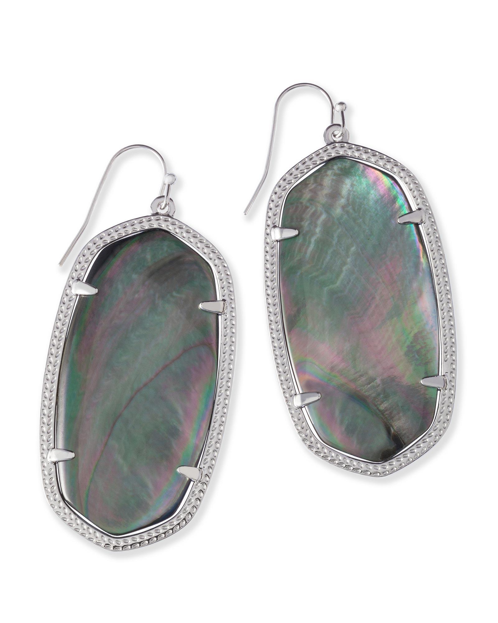 Danielle Silver Earrings In Black Pearl