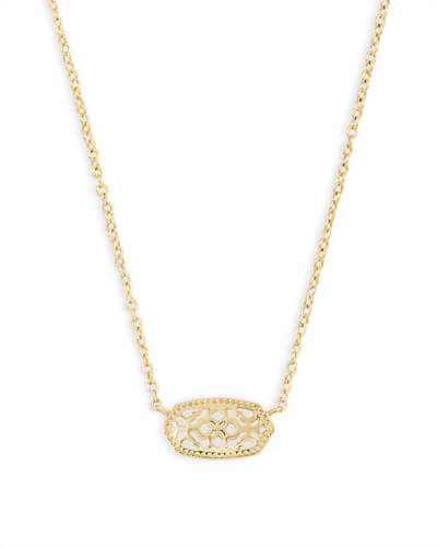 Elisa Gold Pendant Necklace in Gold Filigree