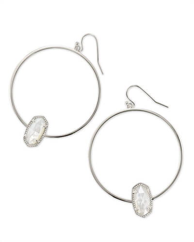 Elora Silver Hoop Earring in Ivory Mother of Pearl