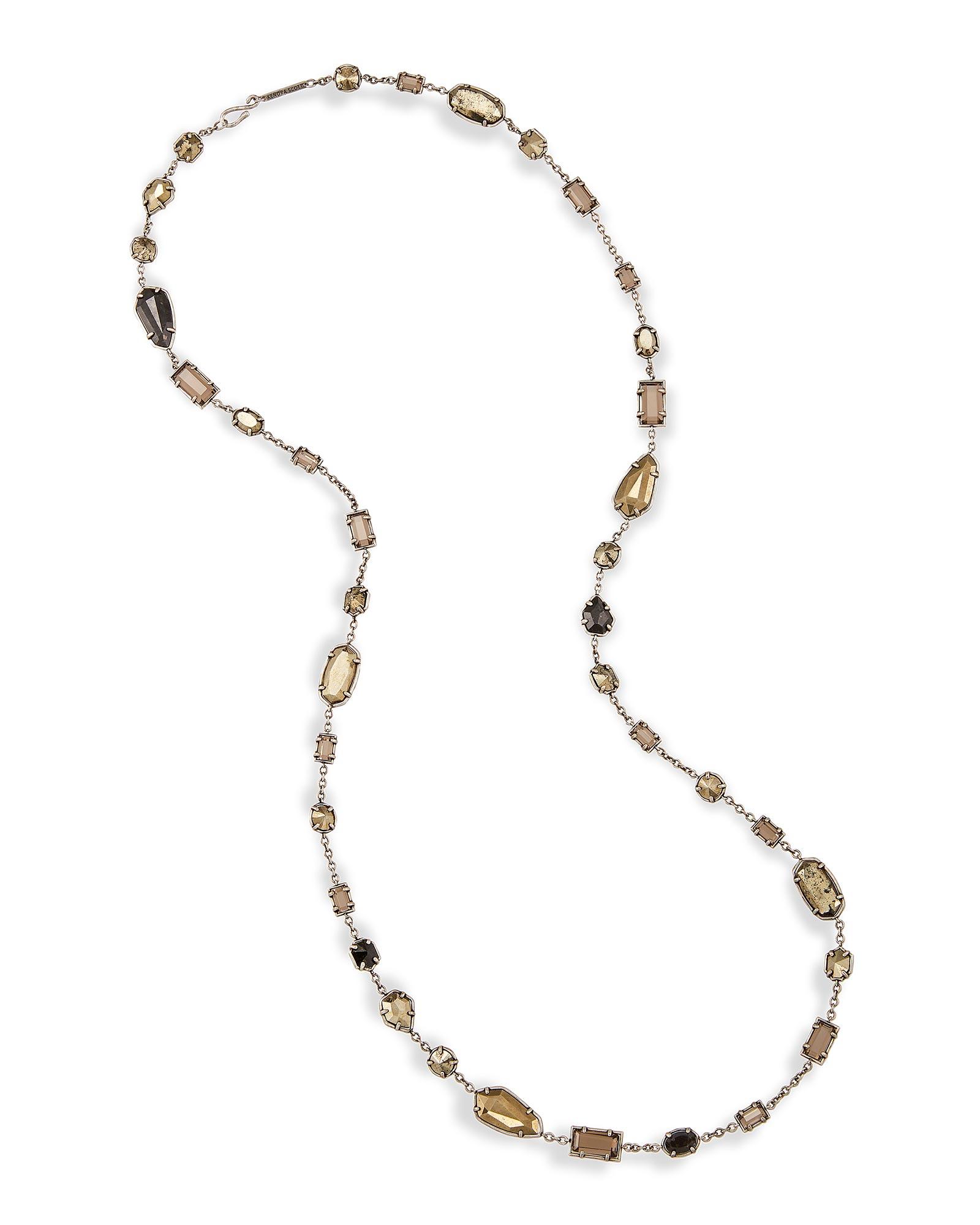 Joann Silver Long Necklace in Pyrite Kendra Scott