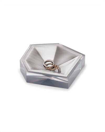 Faceted Ring Dish in Antique Silver