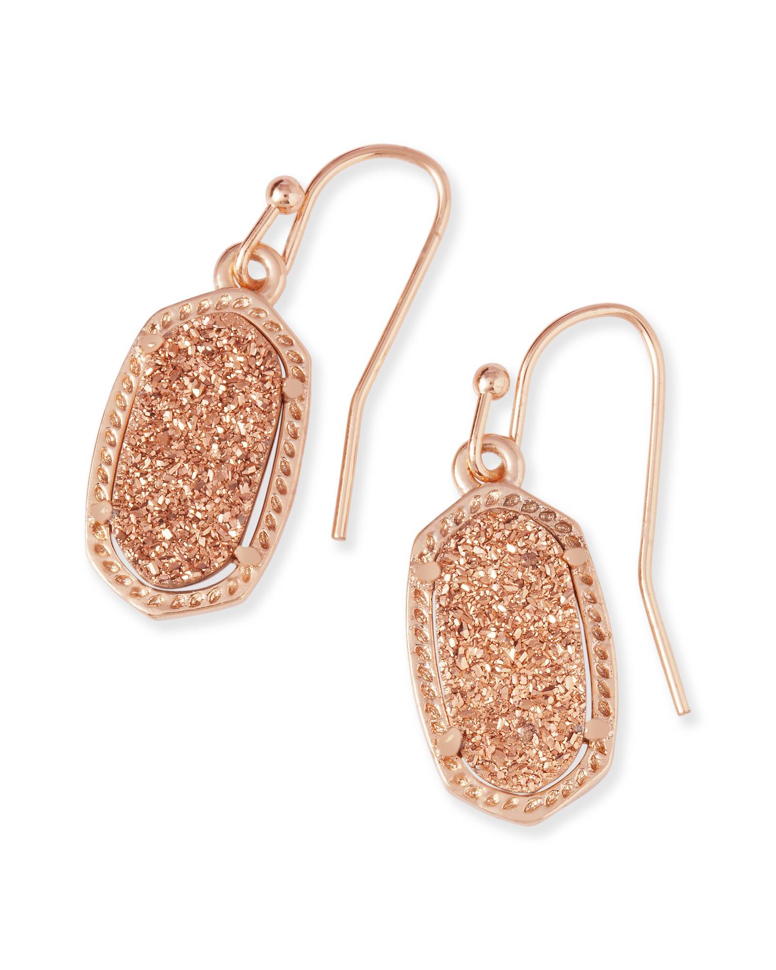 Lee rose gold drop earrings in drusy kendra scott for Kendra scott fine jewelry