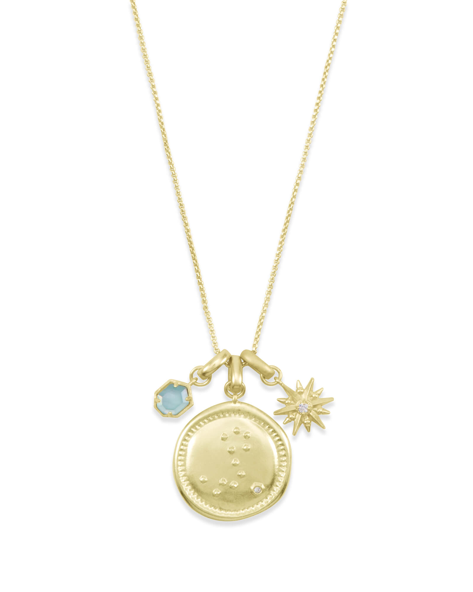 March Pisces Charm Necklace Set in Gold