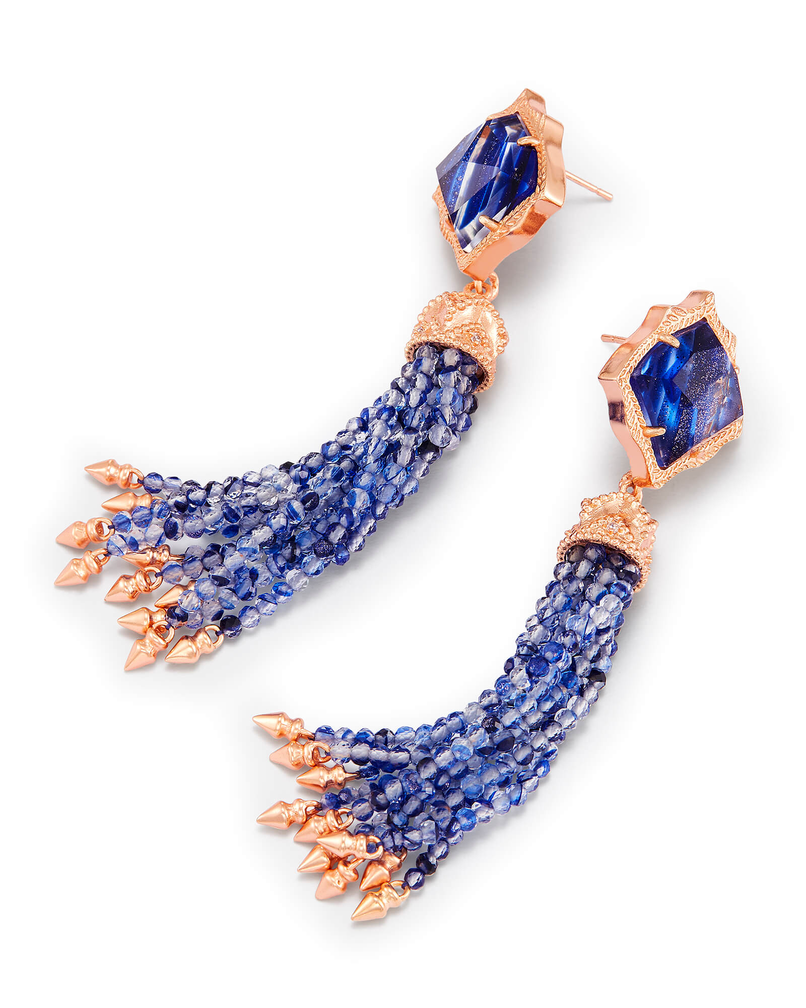 Misha Statement Earrings in Navy Dusted Glass
