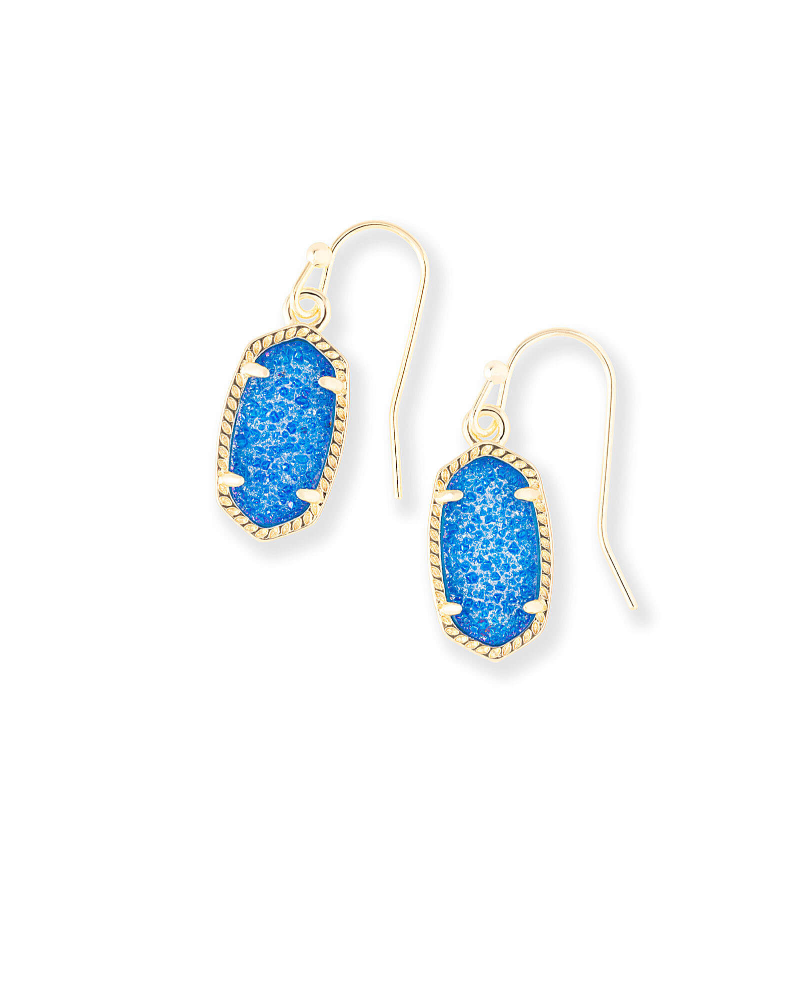 Lee Gold Drop Earrings in Cobalt Drusy