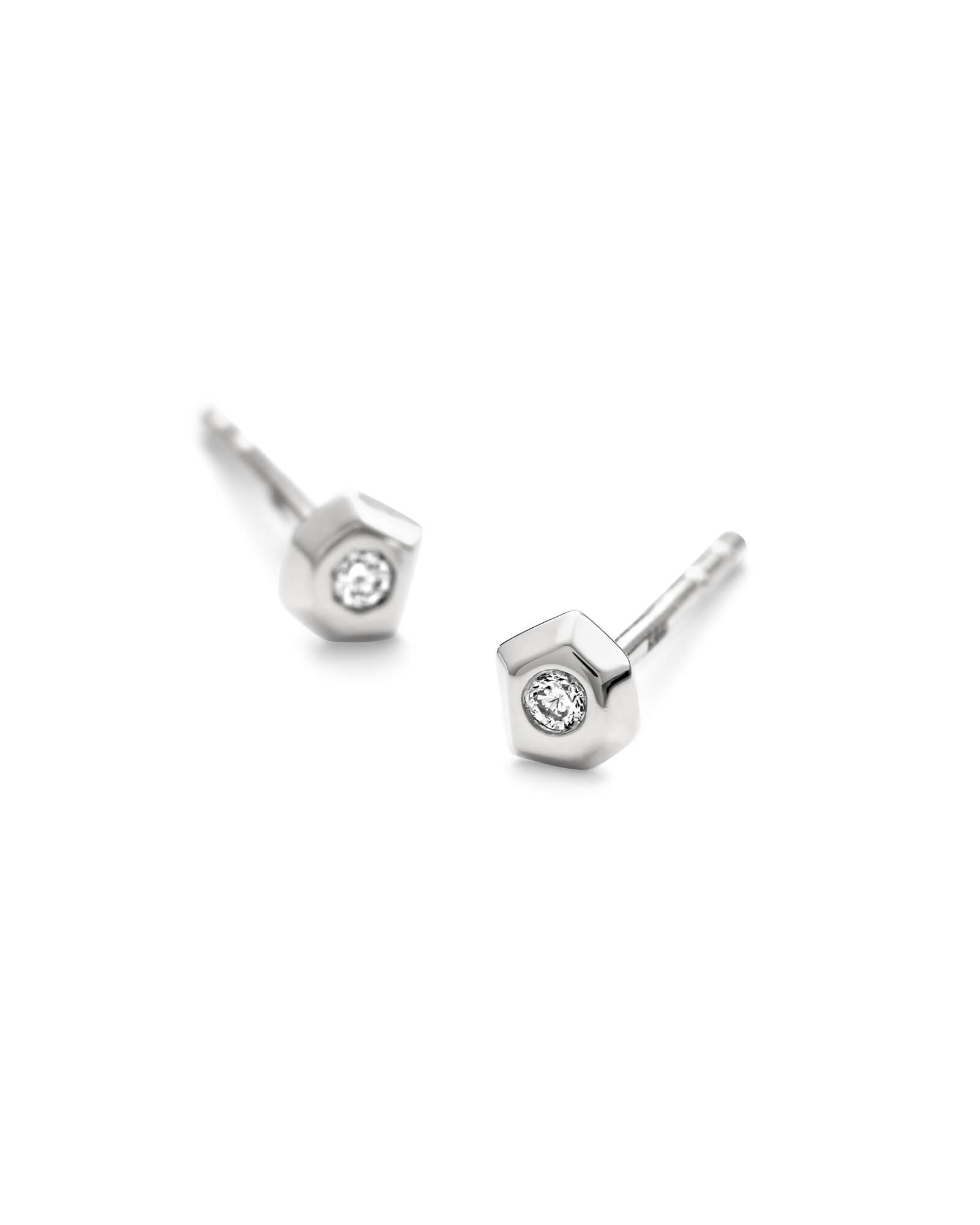 Janiya 14k White Gold Stud Earrings in White Diamond