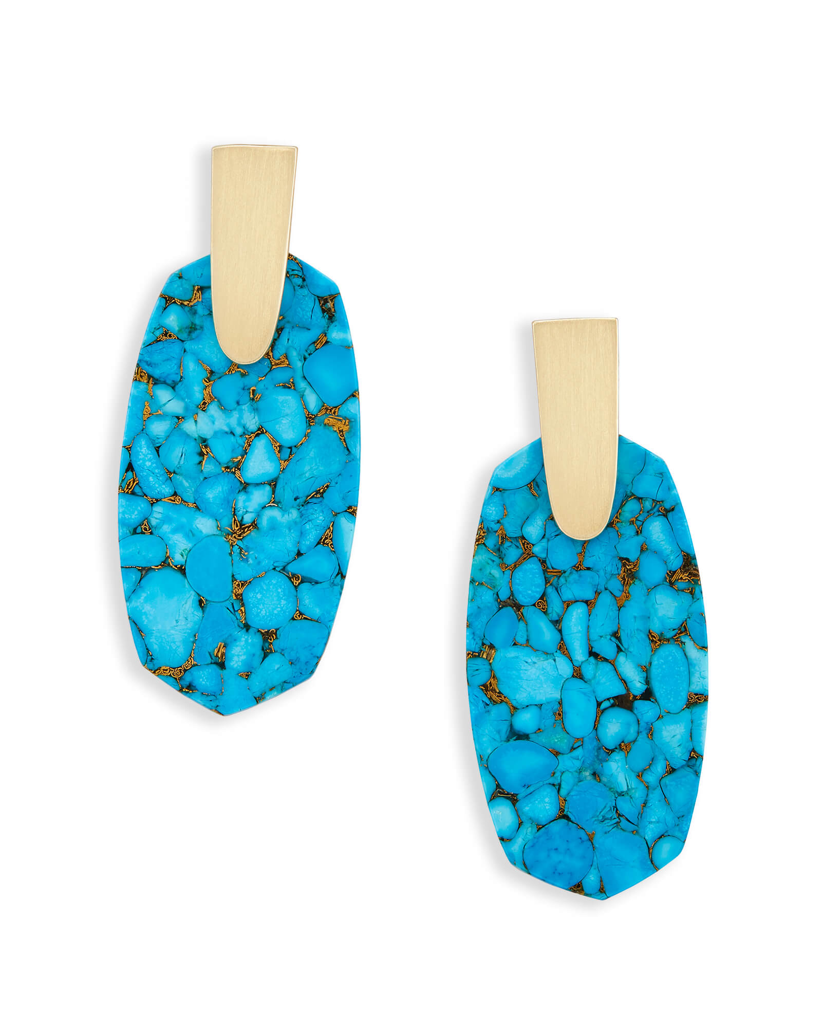 Aragon Drop Earrings In Bronze Veined Turquoise