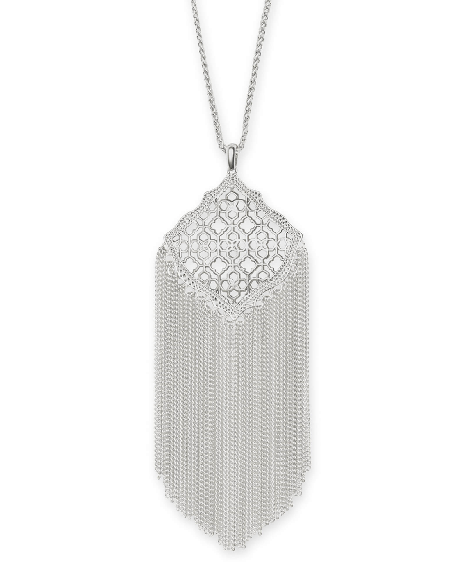 Kingston Silver Long Pendant Necklace in Silver Filigree Mix