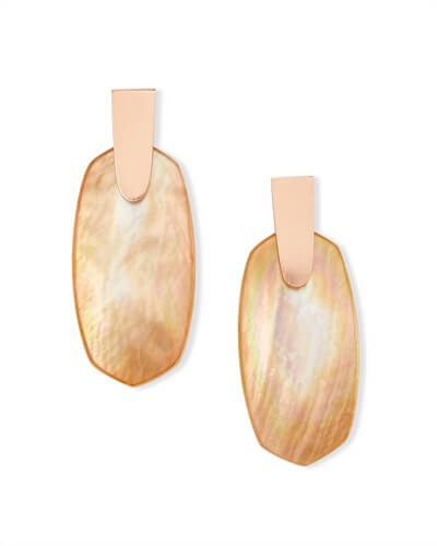 Aragon Rose Gold Drop Earrings in Brown Mother of Pearl