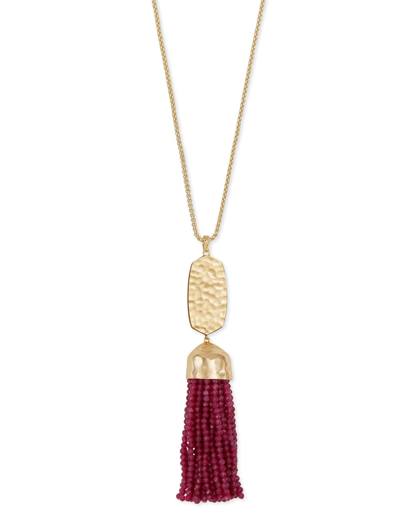 Monroe Gold Long Pendant Necklace in Maroon Jade