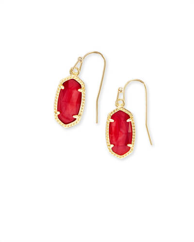 Lee Gold Drop Earrings in Red Mother of Pearl