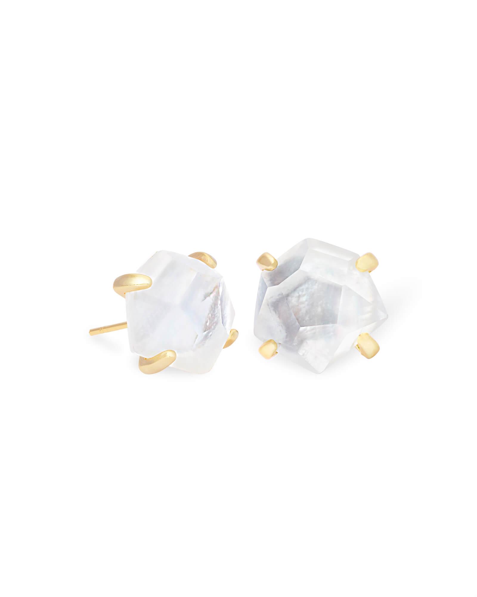 Ivory Mother Of Pearl Floor Vase In 2019: Ellms Gold Stud Earrings In Ivory Mother-of-Pearl