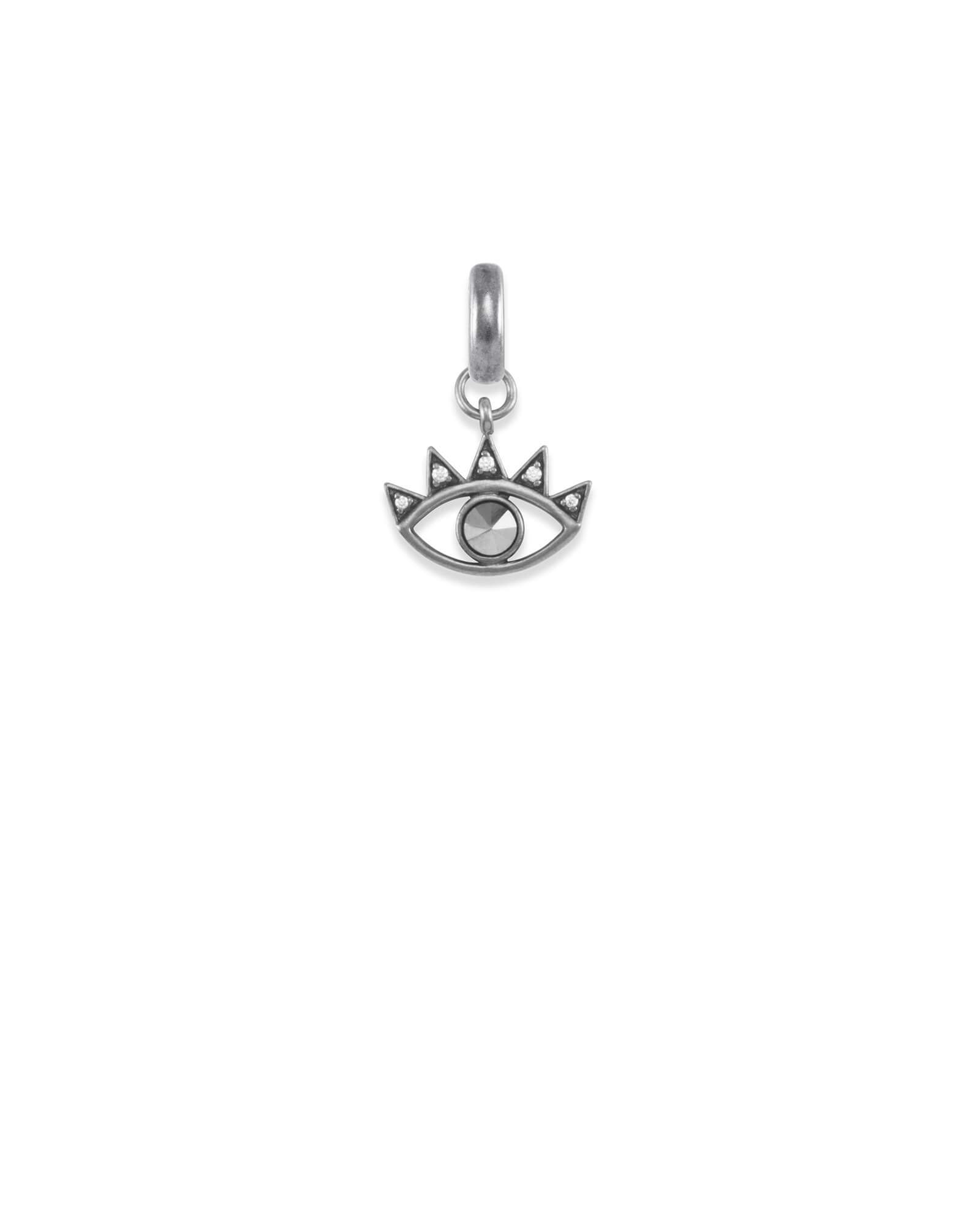 Bright Eye Charm in Vintage Silver