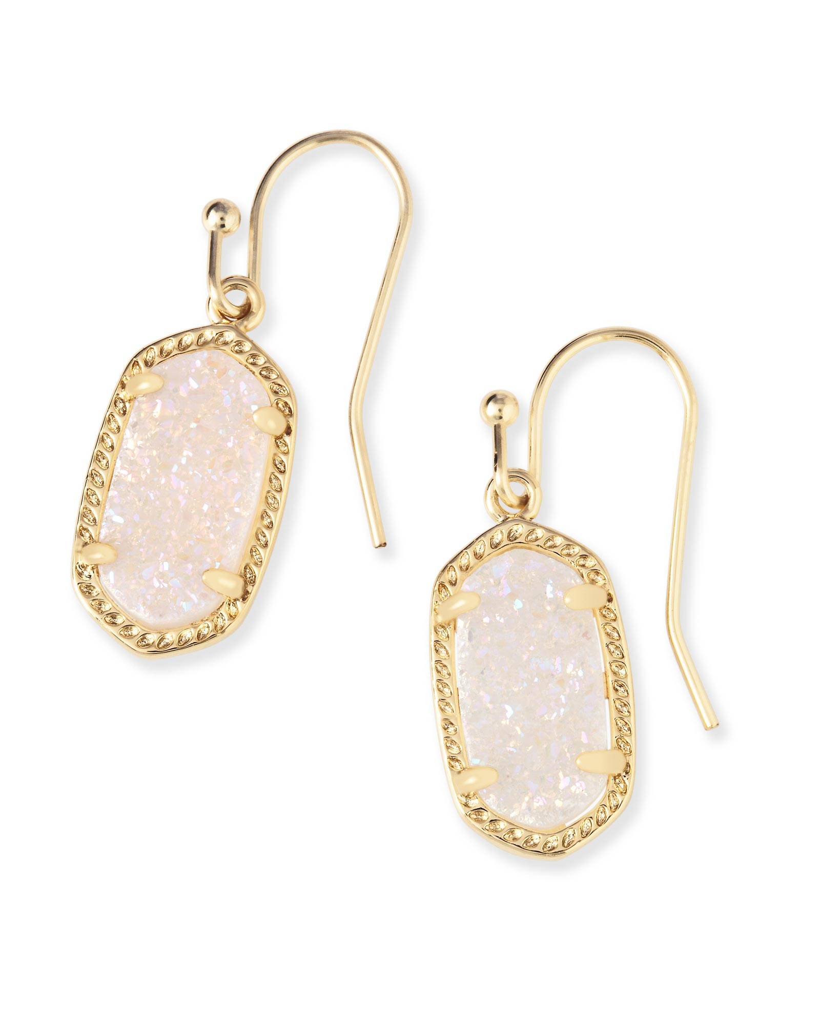 lee gold drop earrings in iridescent drusy kendra scott