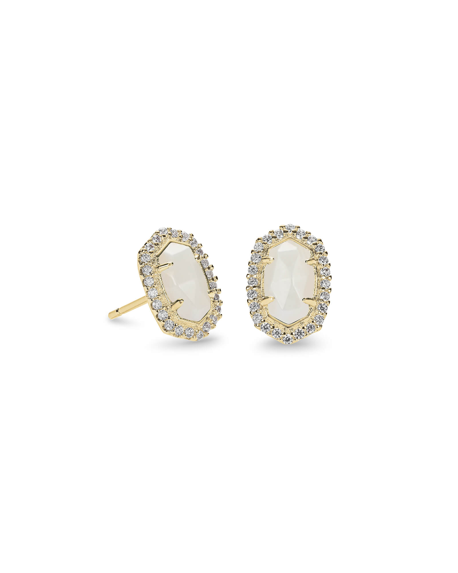 Cade Gold Stud Earrings in White Pearl