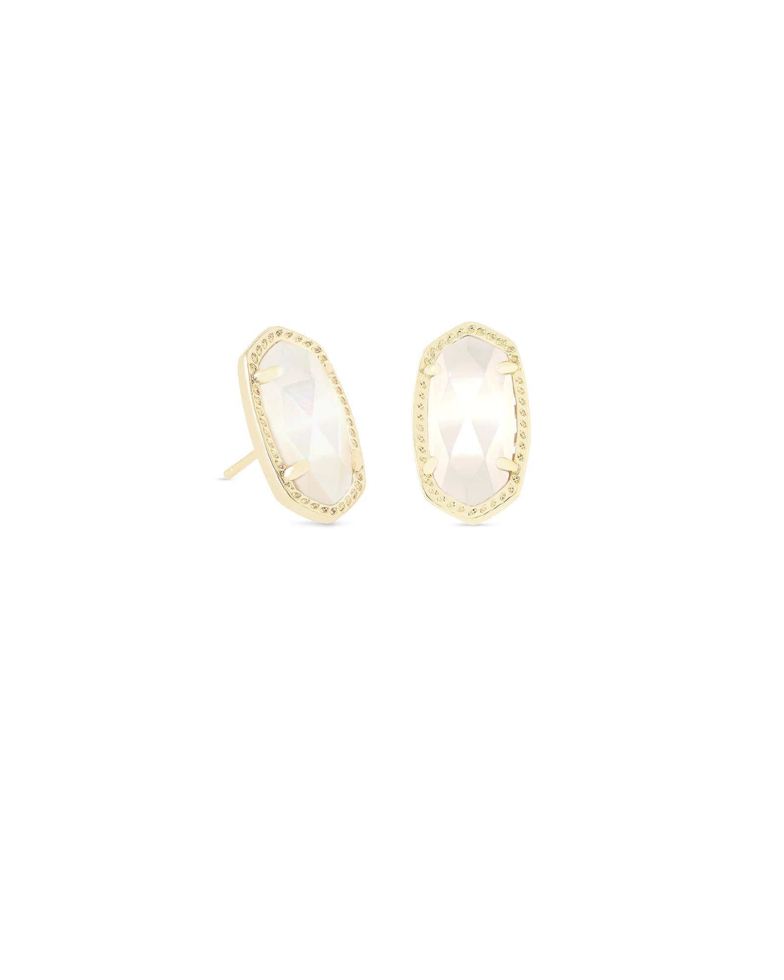 Ellie Gold Stud Earrings in Ivory Pearl