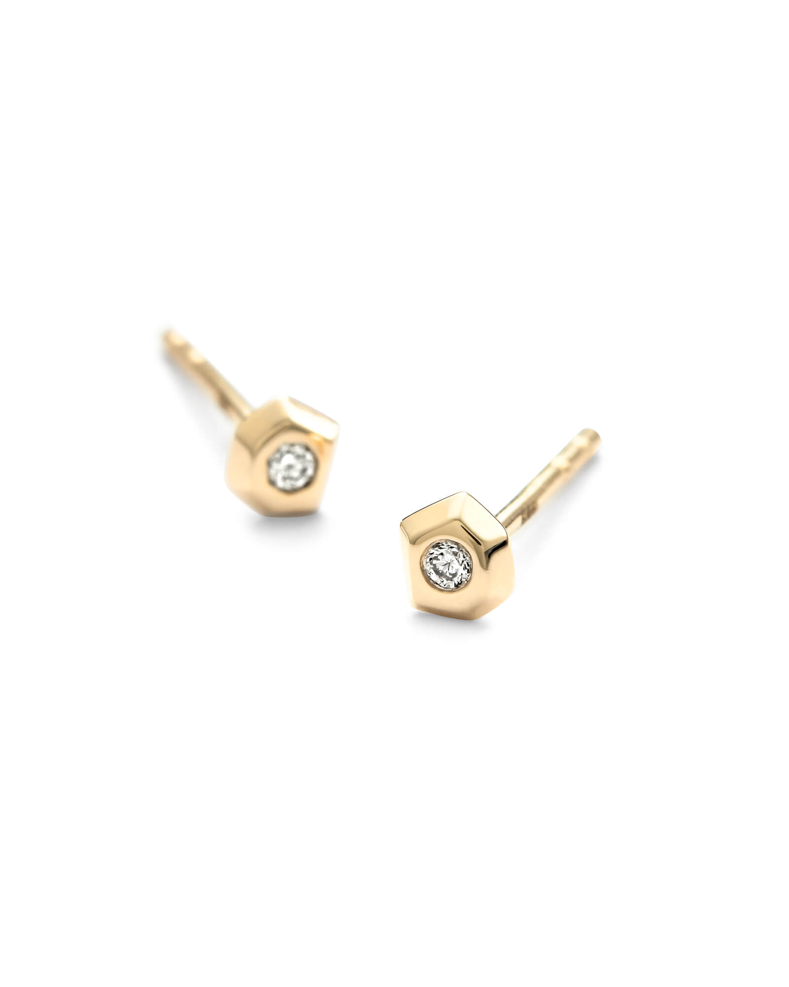 Janiya 14k Yellow Gold Stud Earrings in White Diamond