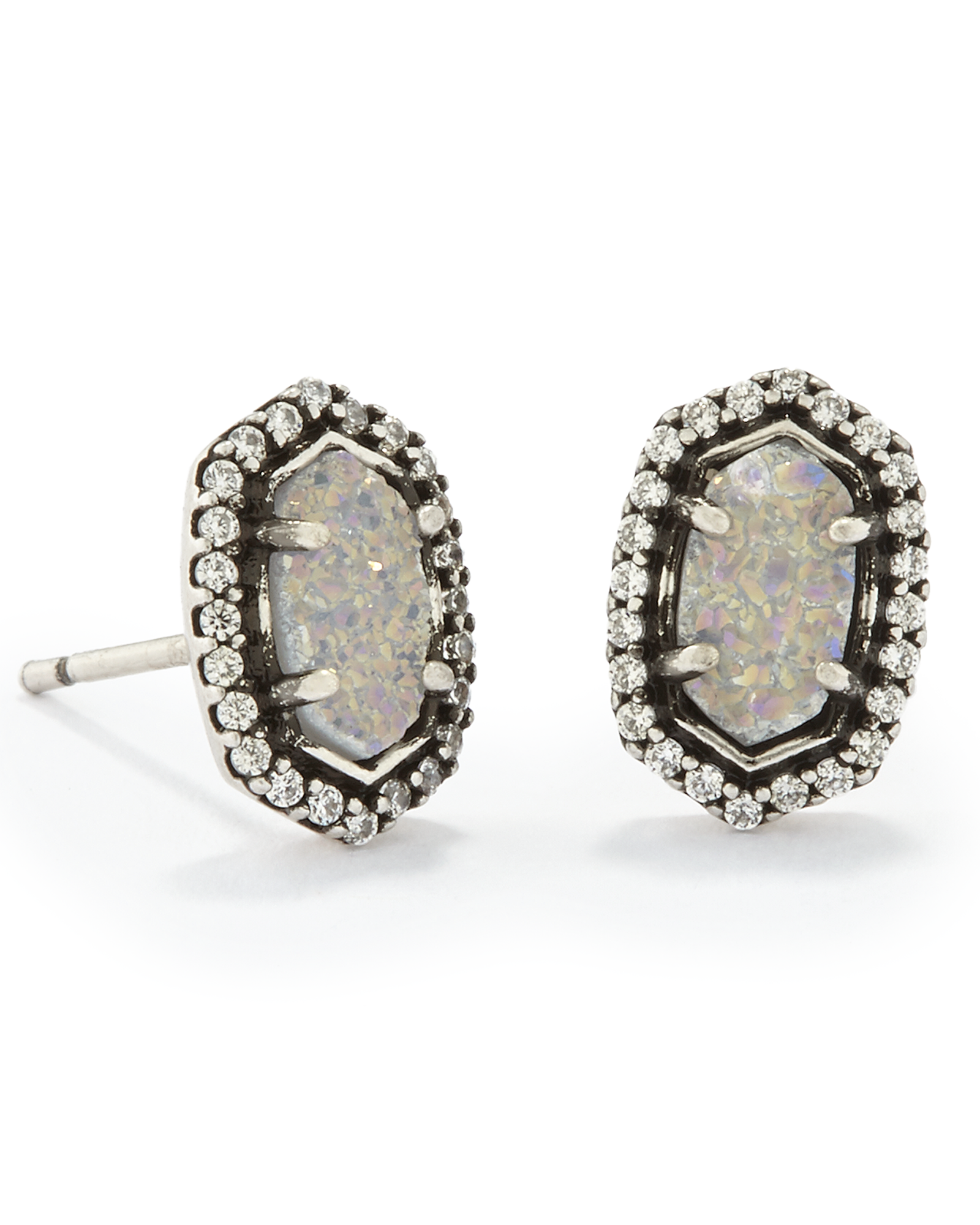Cade Stud Earrings in Antique Silver