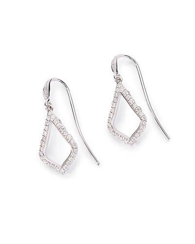 Liliana Drop Earrings in Pave Diamond and 14k White Gold