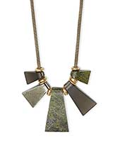 Rhodes Vintage Gold Statement Necklace in Olive Mix