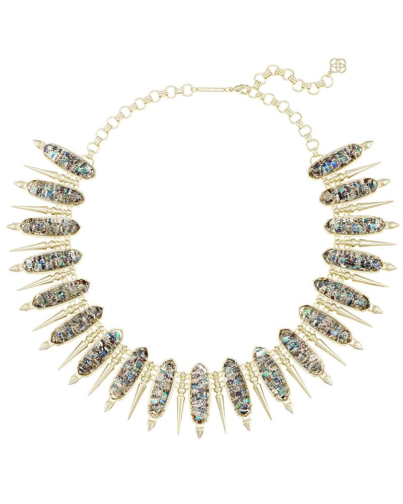 Gwendolyn Statement Necklace in Crushed Abalone Shell