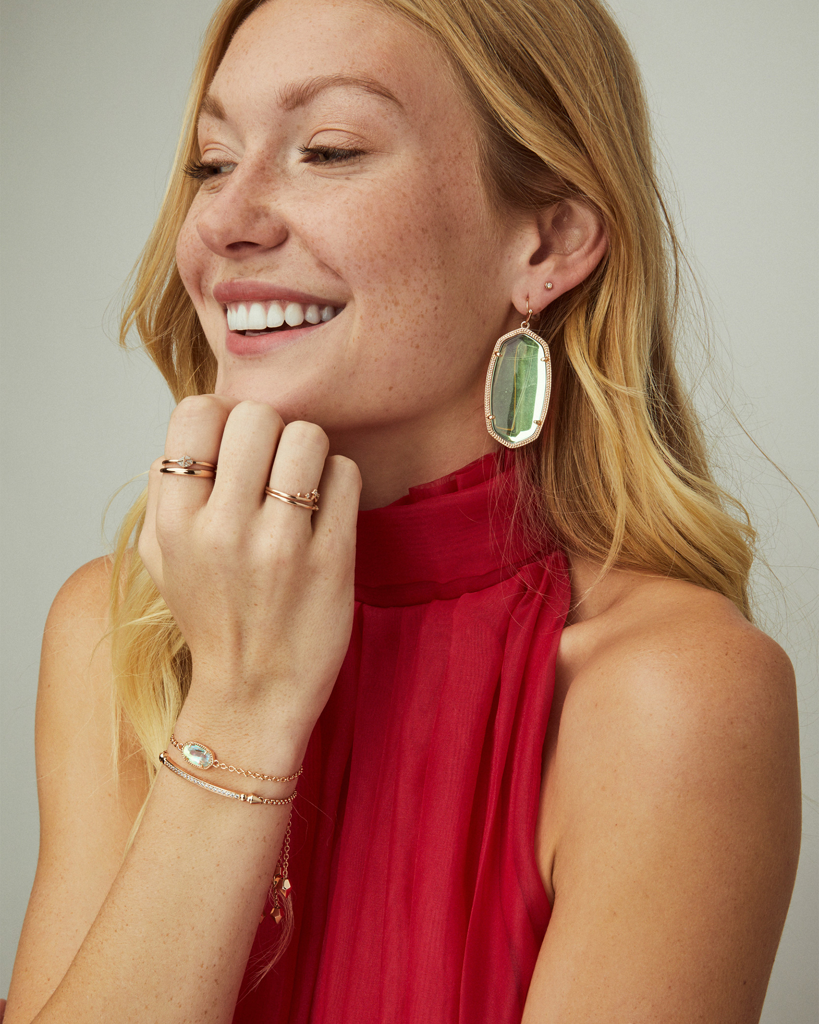 Danielle Gold Statement Earrings in Berry Illusion