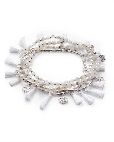 Julie Silver Stretch Bracelet Set In Ivory Mother of Pearl Mix