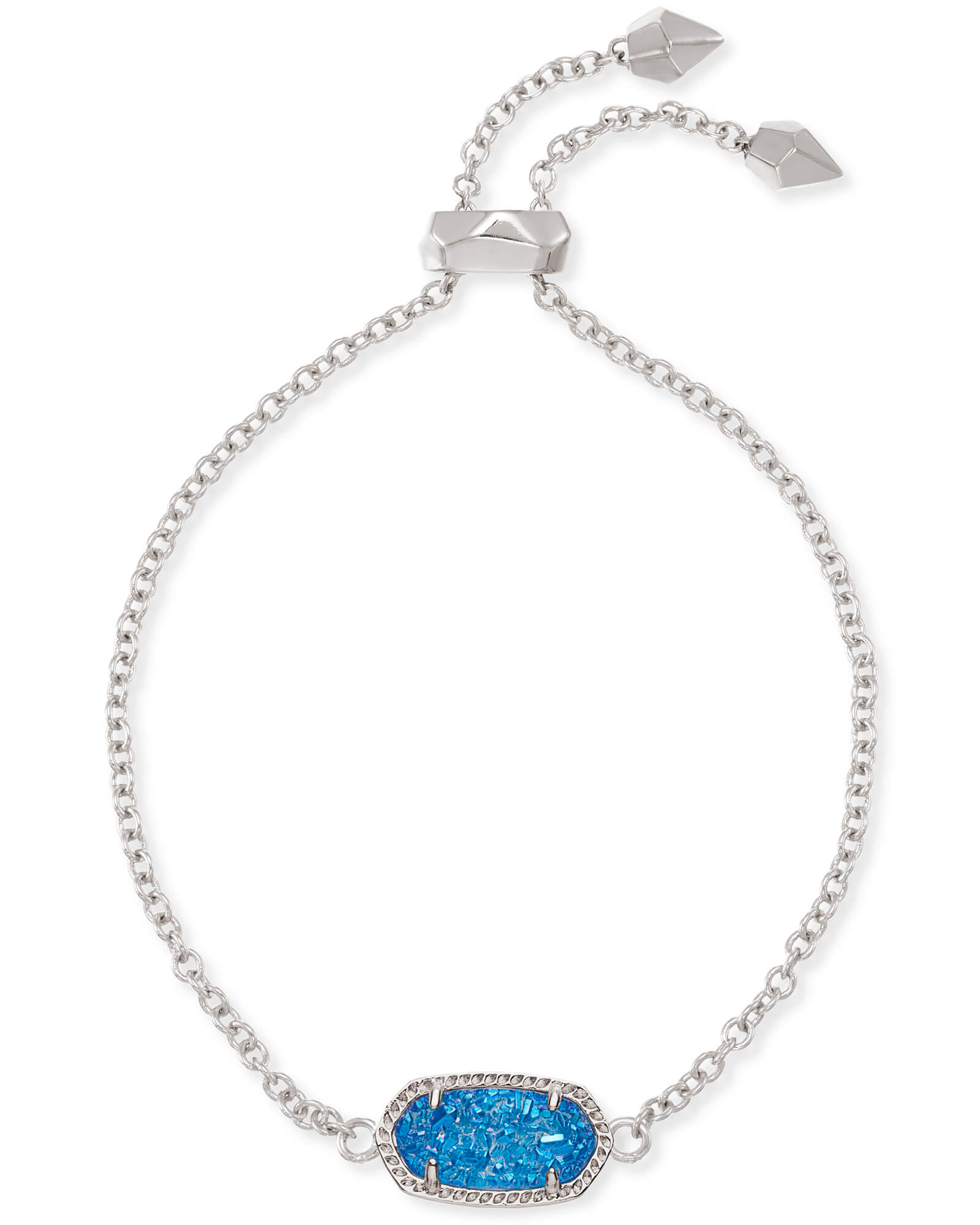 Elaina Silver Adjustable Chain Bracelet in Cobalt Drusy