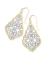 Addie Gold Drop Earrings in Silver Filigree Mix