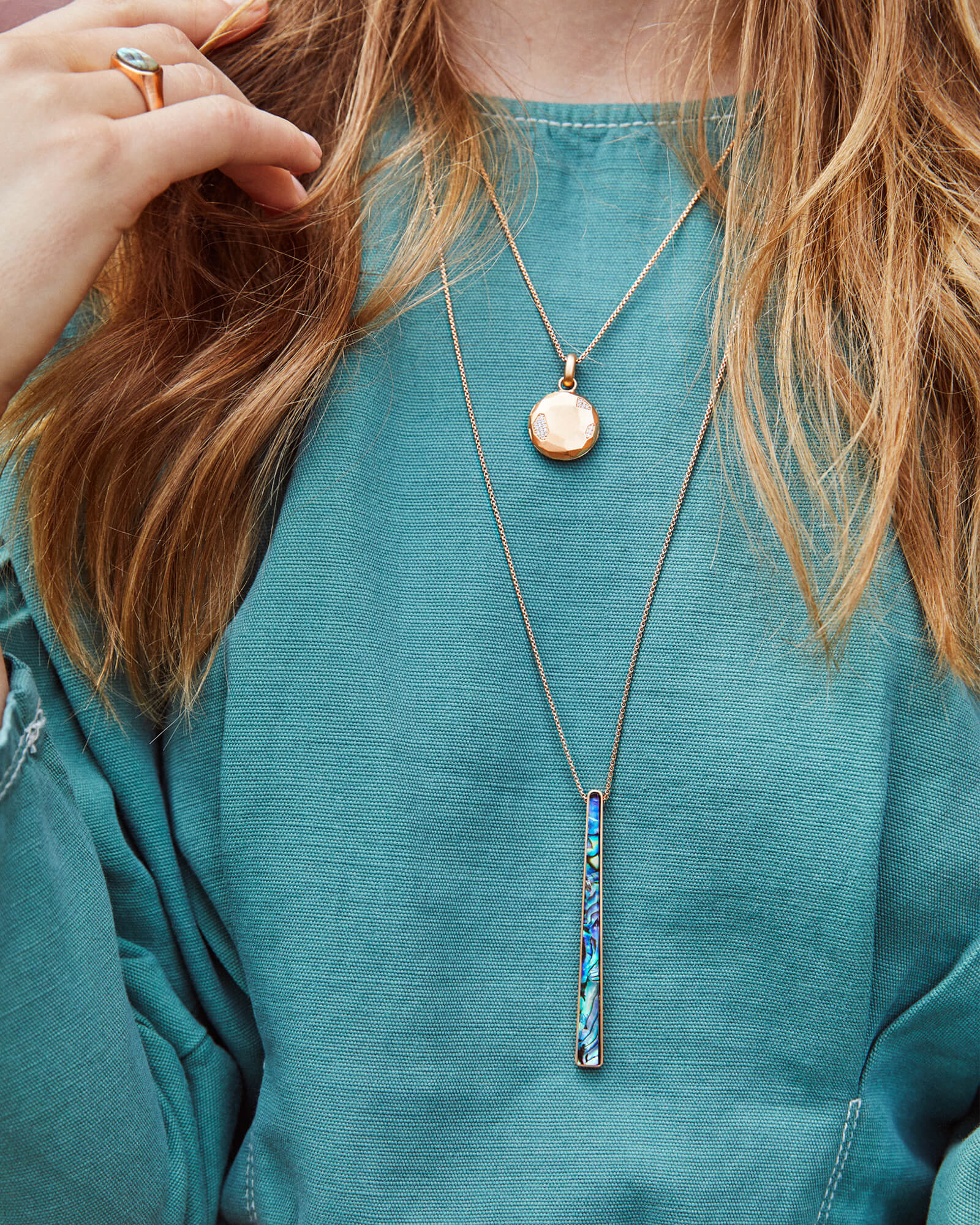 Baleigh Bright Silver Long Pendant Necklace in Sky Blue Illusion