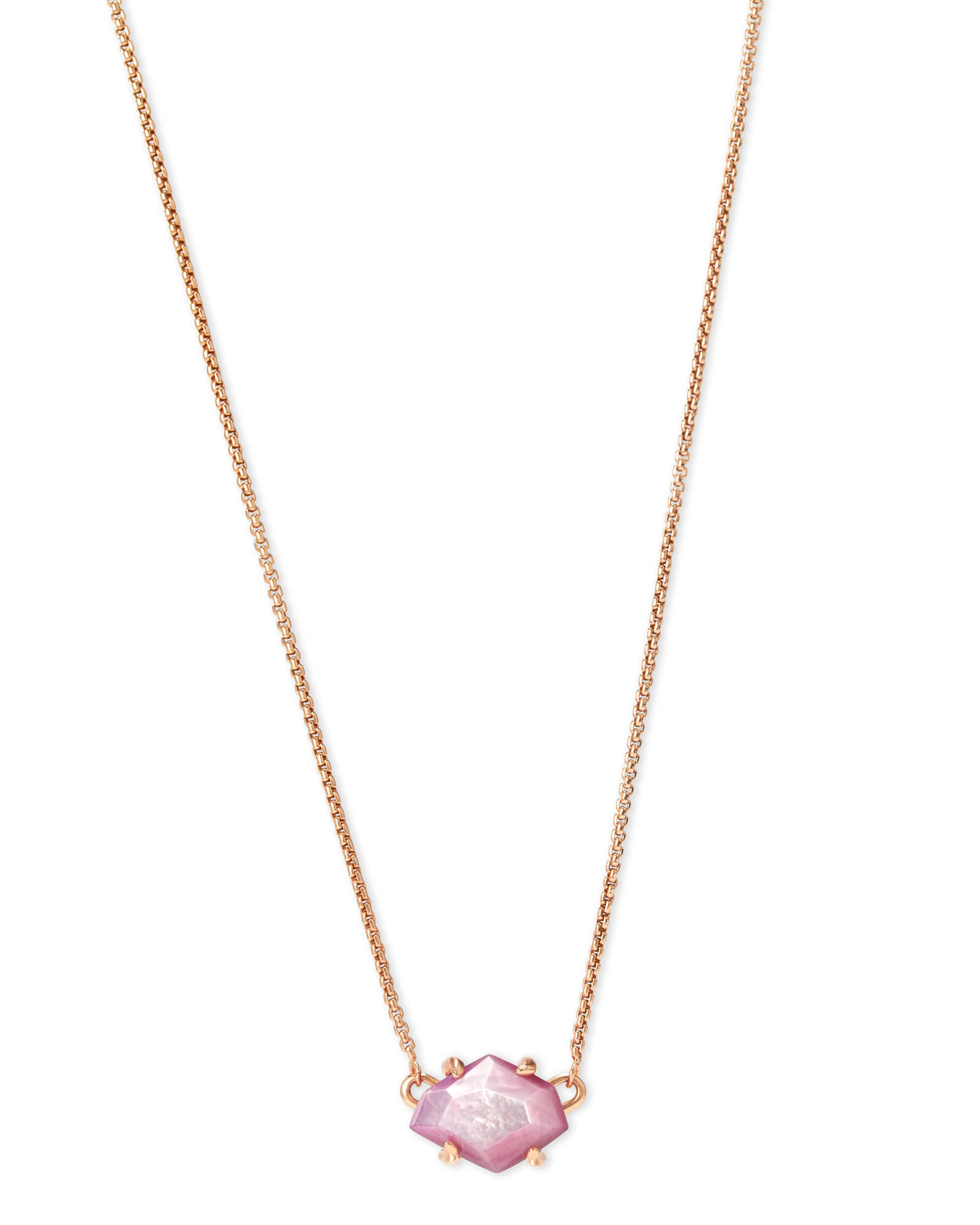 Ethan Rose Gold Pendant Necklace In Lilac Mother of Pearl
