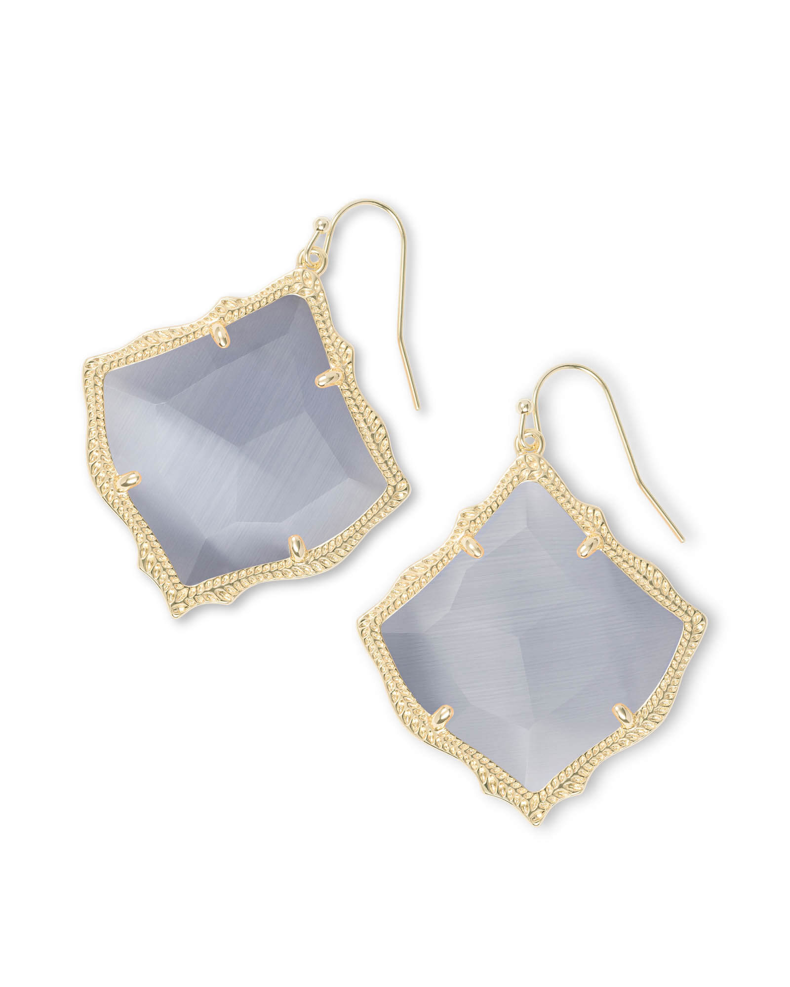 Kirsten Gold Drop Earrings in Slate Cats Eye