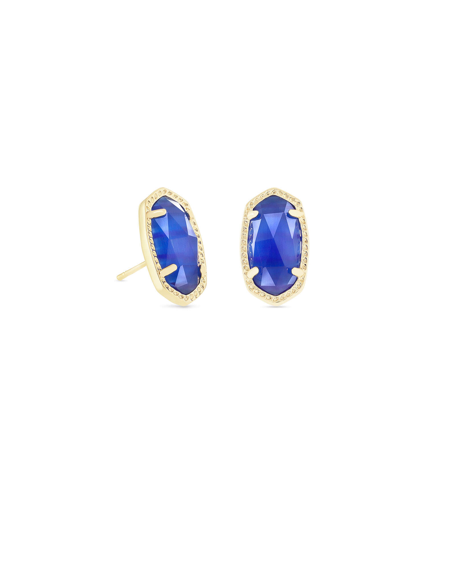 Ellie Gold Stud Earrings in Cobalt Cats Eye