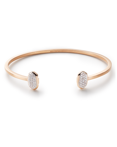 Elias Cuff Bracelet in Pave Diamond and 14k Rose Gold