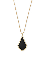 Alex Gold Pendant Necklace in Black Opaque Glass