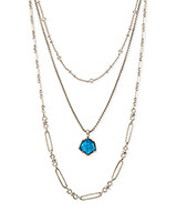 Vanessa Silver Multi Strand Necklace in Peacock Blue Illusion