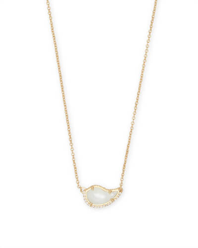 Tansy Gold Pendant Necklace in Ivory Pearl