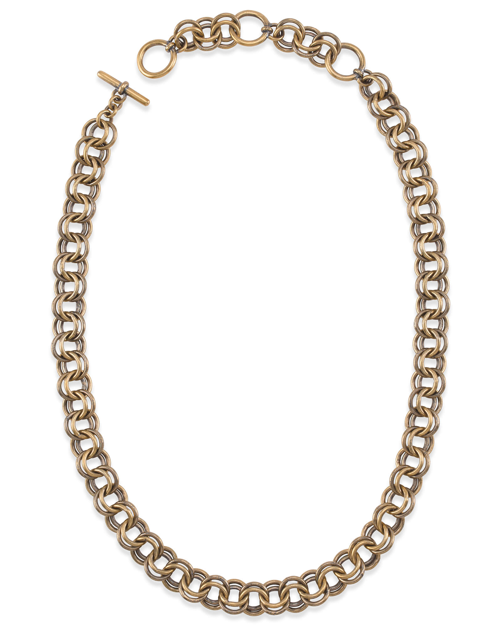"18"" Double Chain Link Necklace in Vintage Gold"