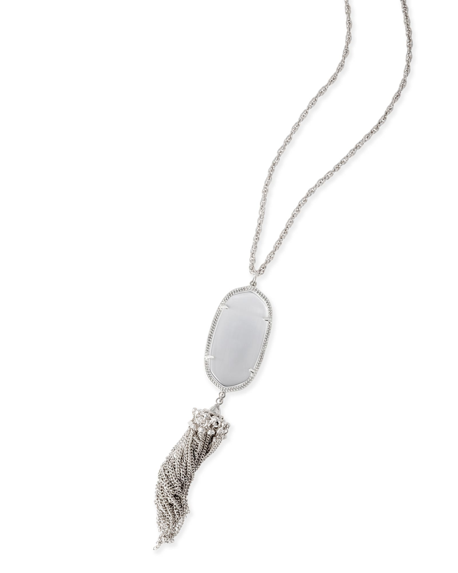 Rayne silver long necklace in slate gray kendra scott rayne silver necklace in slate aloadofball Choice Image