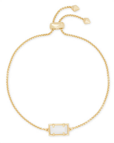 Phillipa Gold Chain Bracelet in White Pearl