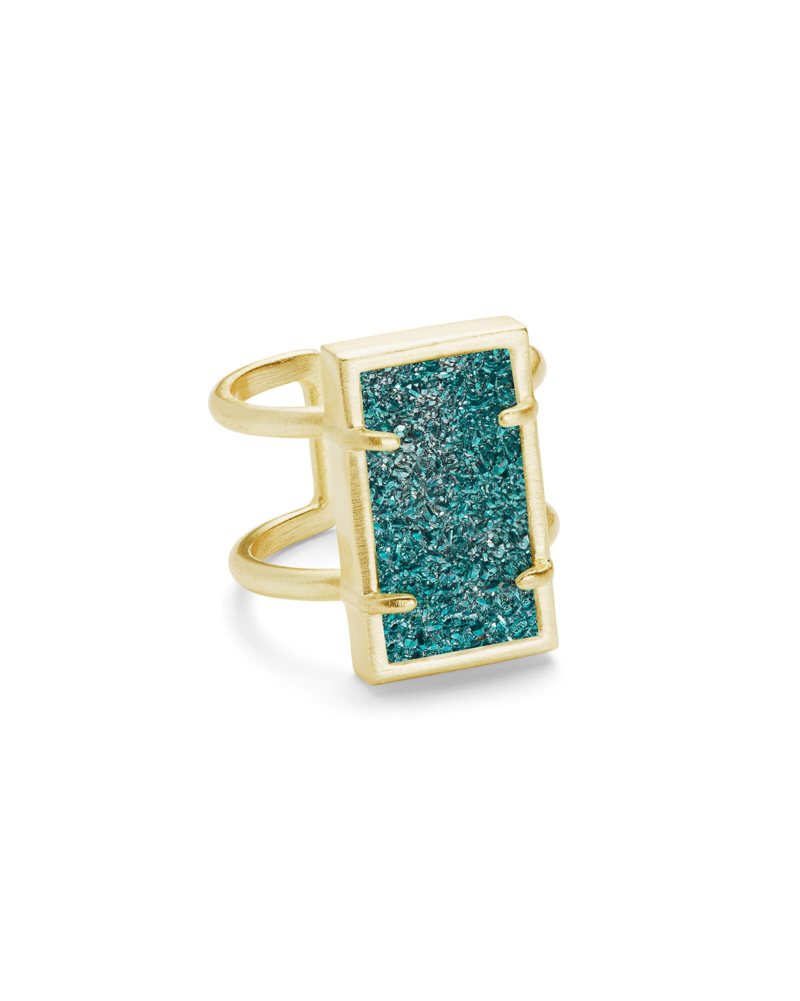 Lennox Gold Ring In Aqua Drusy   S/M by Kendra Scott
