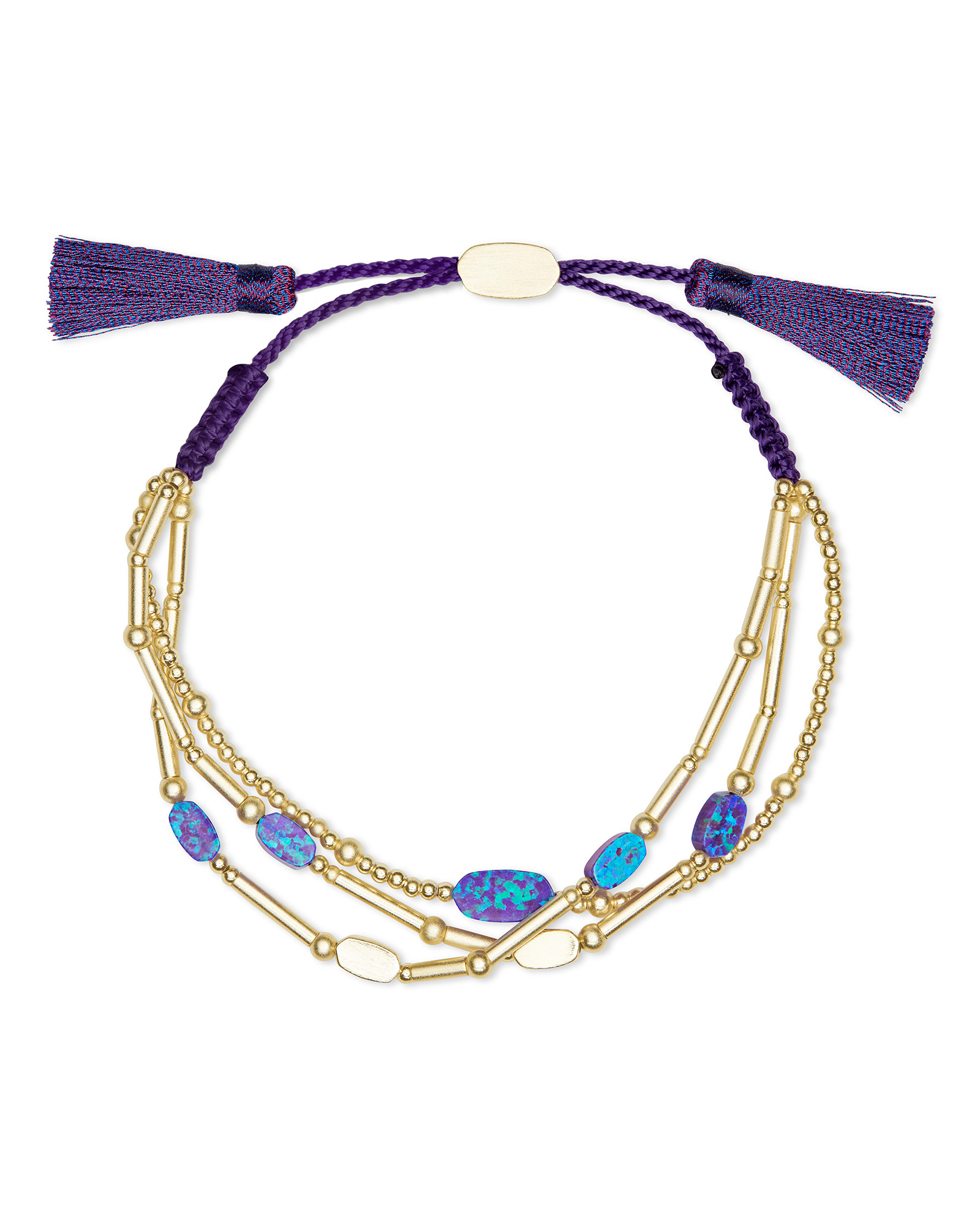 Chantal Gold Beaded Bracelet in Violet Kyocera Opal