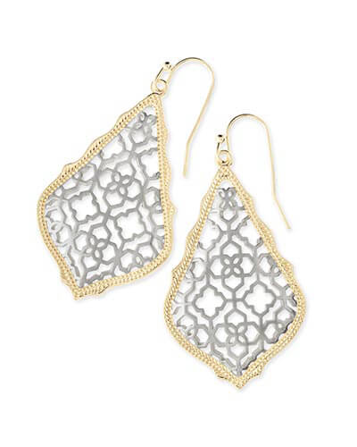 Addie Gold Drop Earrings in Silver Filigree