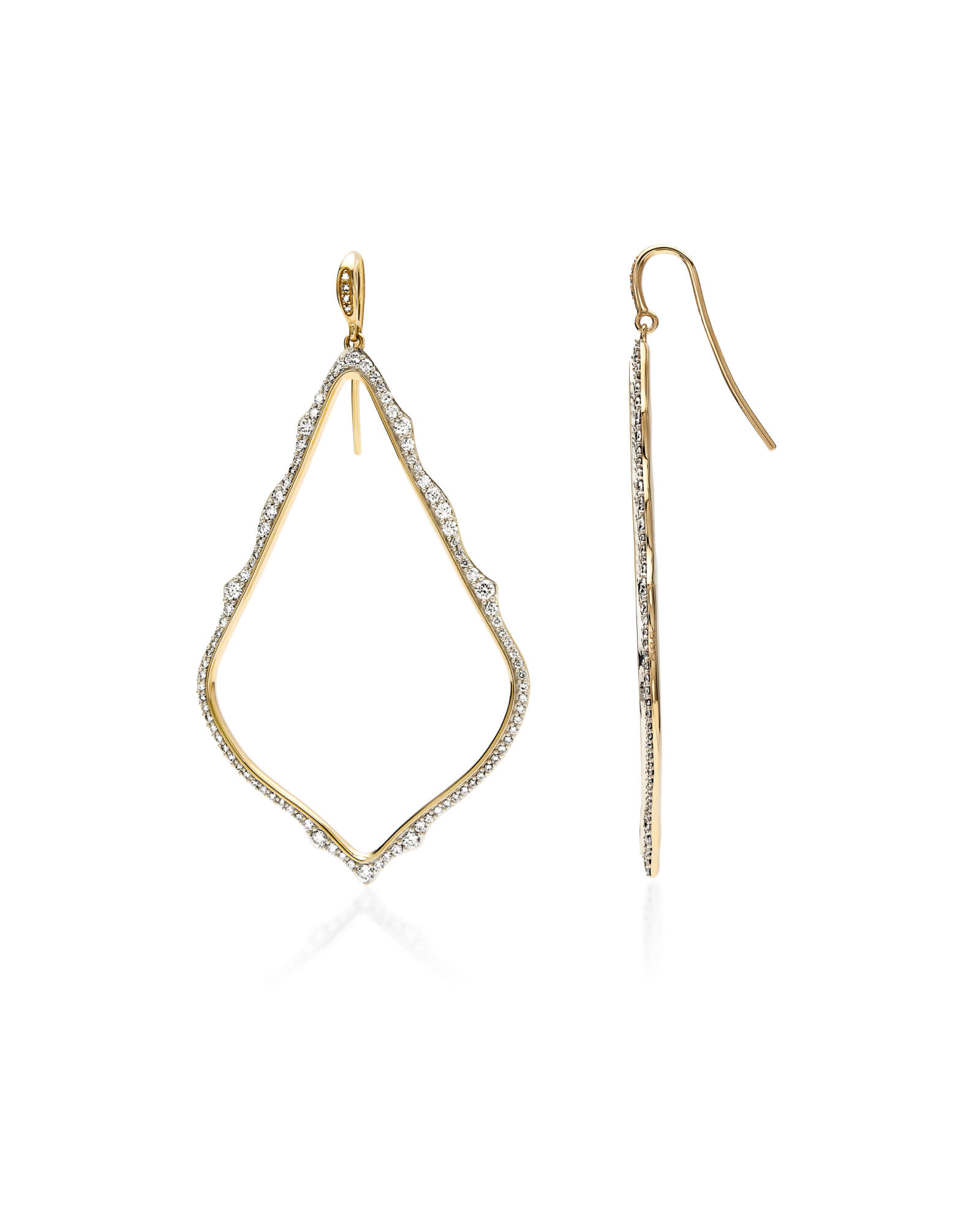 Sophee 14k Yellow Gold Drop Earrings in White Diamond