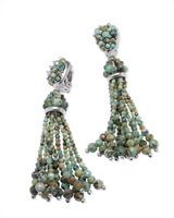 Cecily Silver Clip On Statement Earrings in African Turquoise