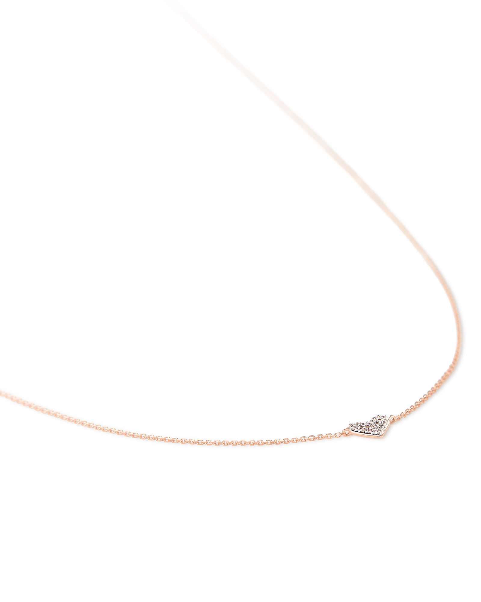 Heart 14k Rose Gold Pendant Necklace in White Diamonds
