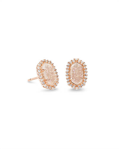 Cade Rose Gold Stud Earrings in Iridescent Drusy