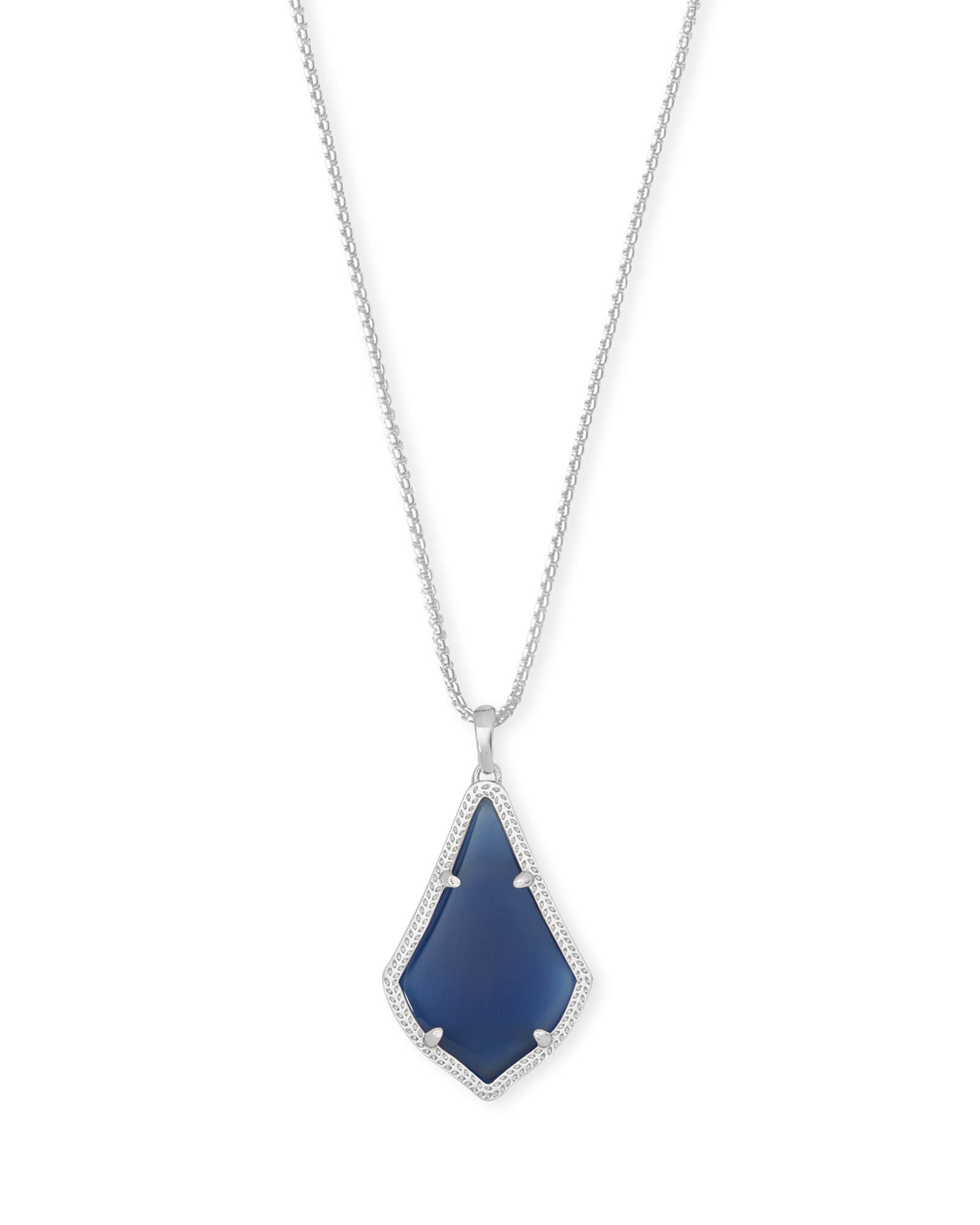 Alex Silver Pendant Necklace in Navy Cat's Eye